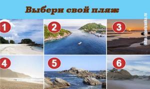Выбери свой идеальный пляж и узнай о себе нечто поразительное!