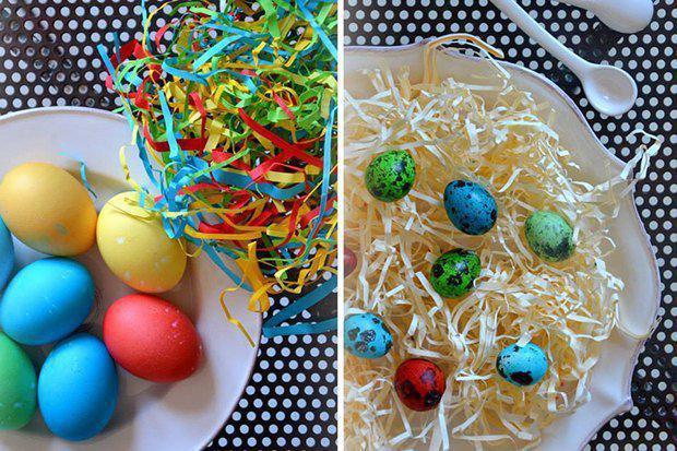 2-1-easter-table-setting-ideas-table-decoration-for-kids-bright-blue-red-yellow-eggs-plate-with-paper-decor   4 идеи оформления Пасхального стола в различных стилях
