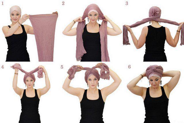 image27-2   Как красиво и оригинально повязать шарф или палантин на голову