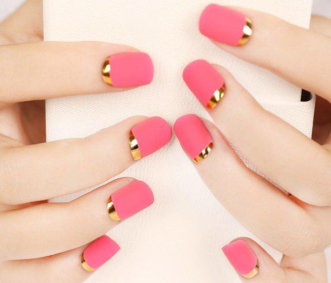 image32-9   36 вариантов стильного маникюра в модном розовом цвете «Дитя заката»