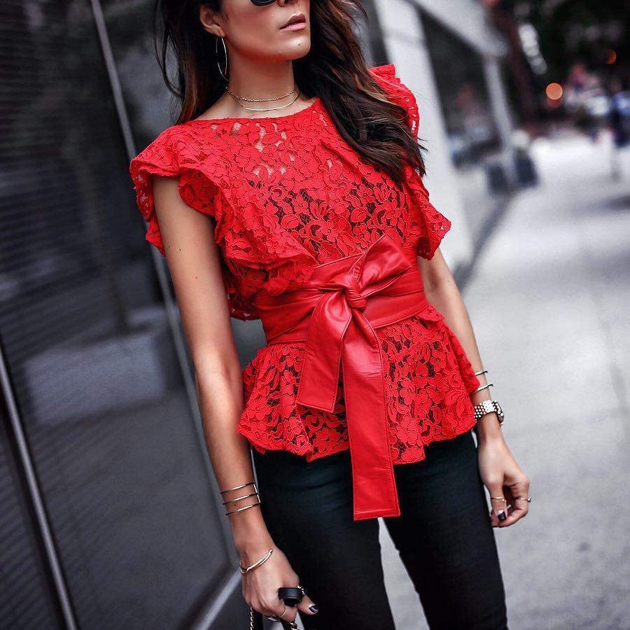 image13-2 | Как стильно носить красные блузки и рубашки летом и осенью 2018: 20 стильных идей