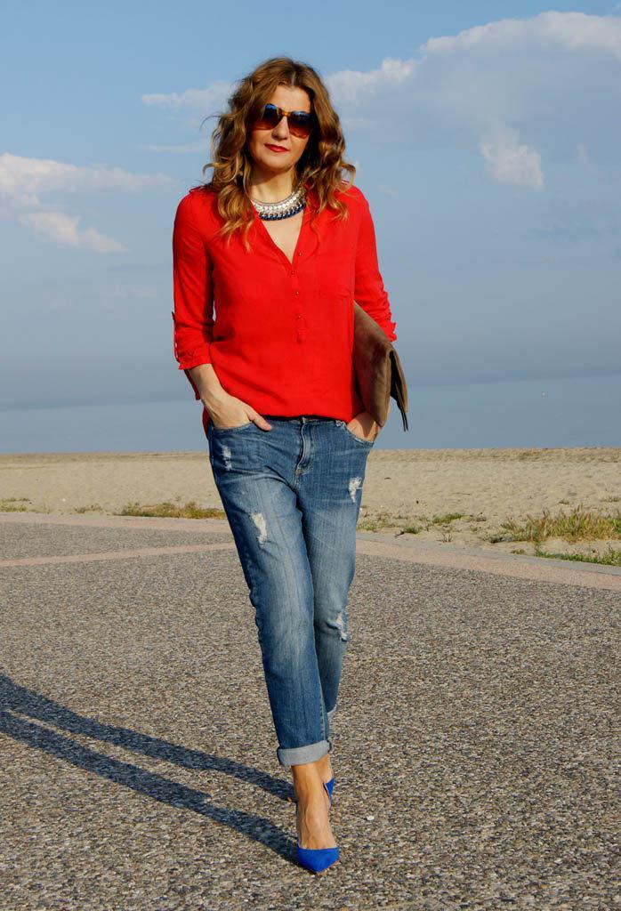 image5-4 | Как стильно носить красные блузки и рубашки летом и осенью 2018: 20 стильных идей