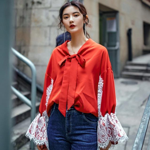 image9-4 | Как стильно носить красные блузки и рубашки летом и осенью 2018: 20 стильных идей