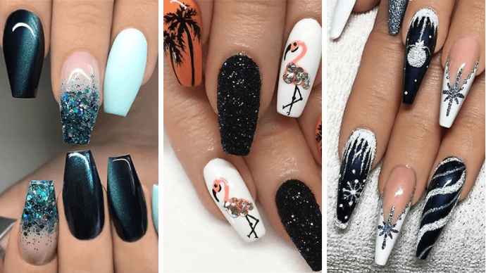 Блестящие идеи тёмного маникюра на длинные ногти