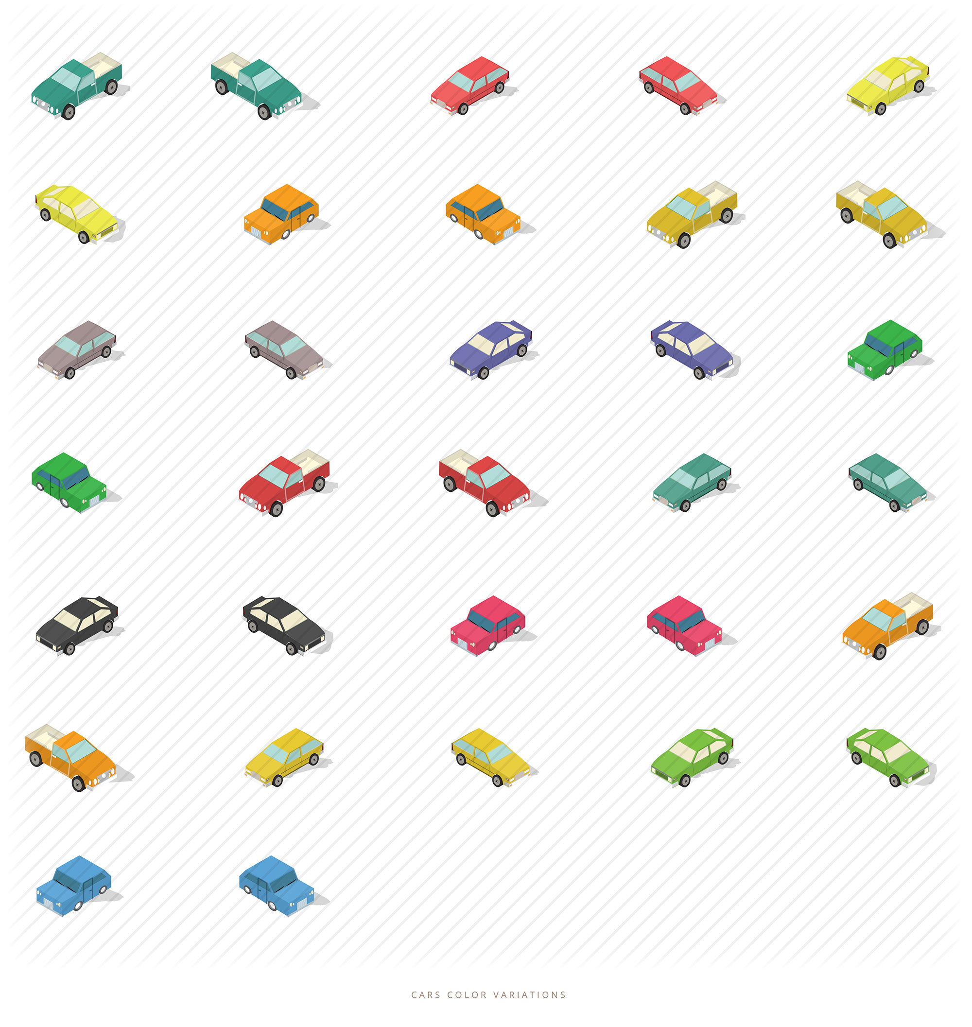 isometric cars colors