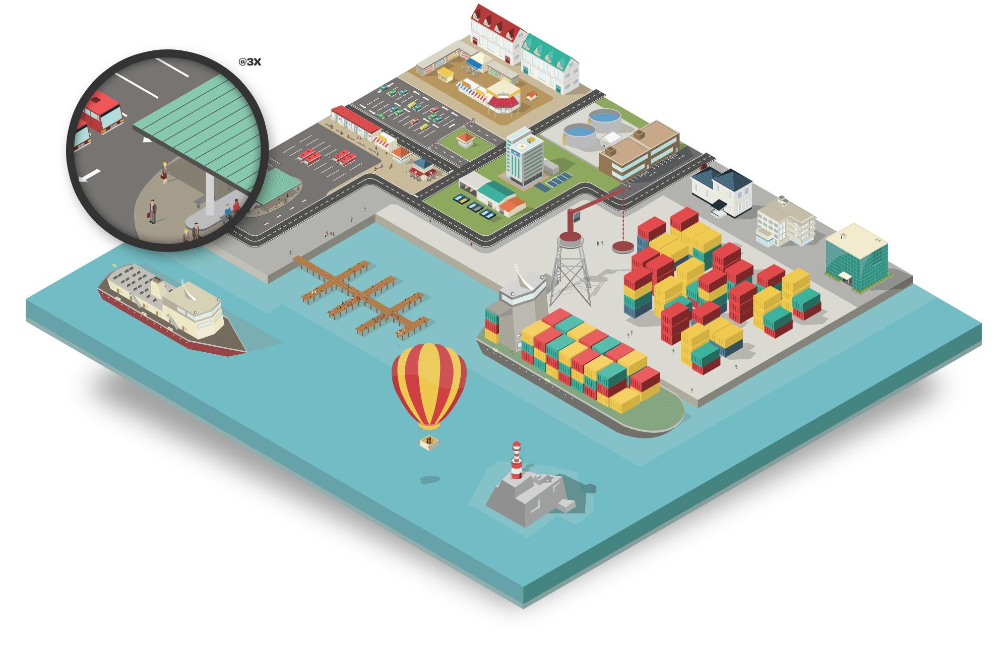 isometric sea port map