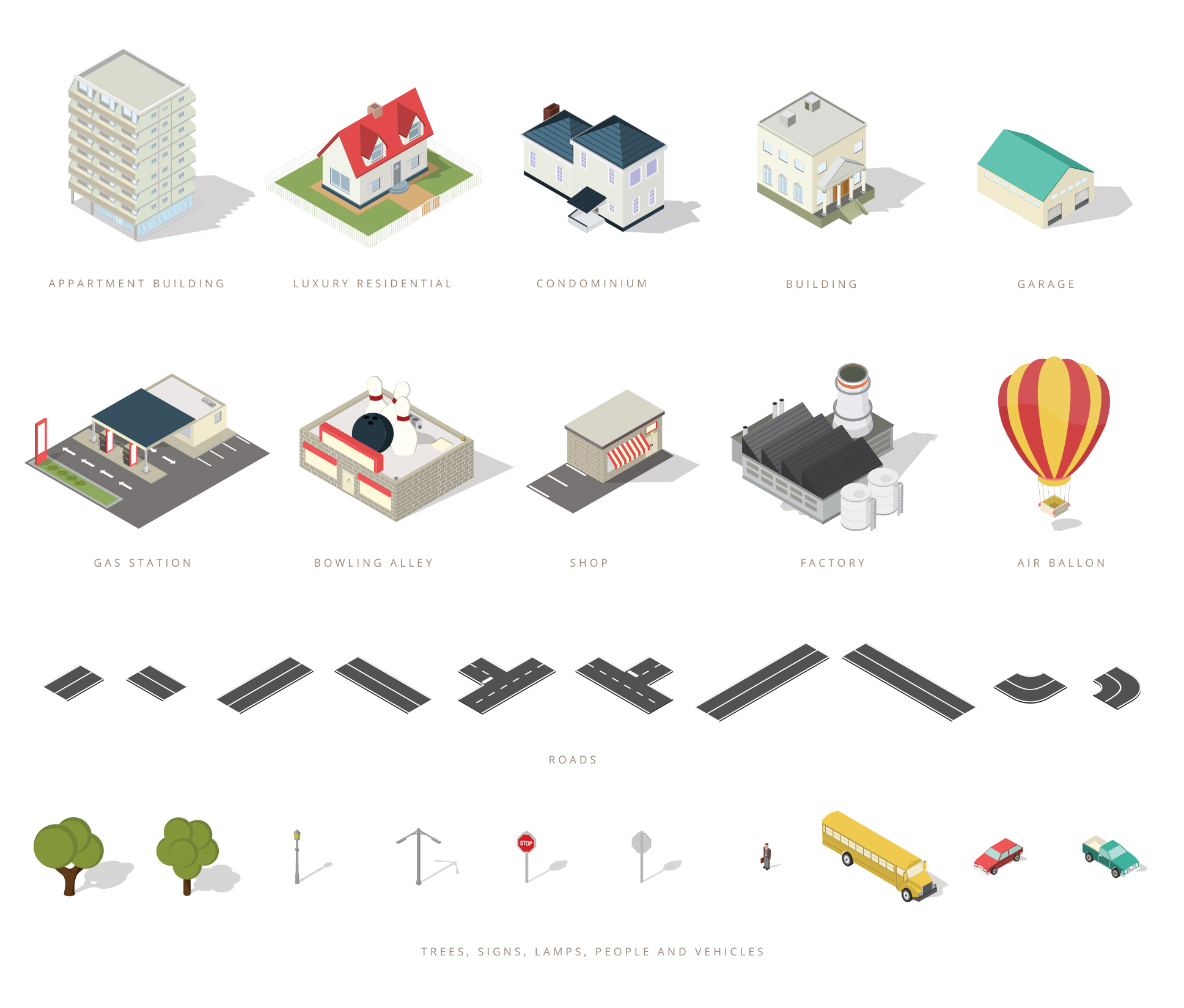 free isometric map elements