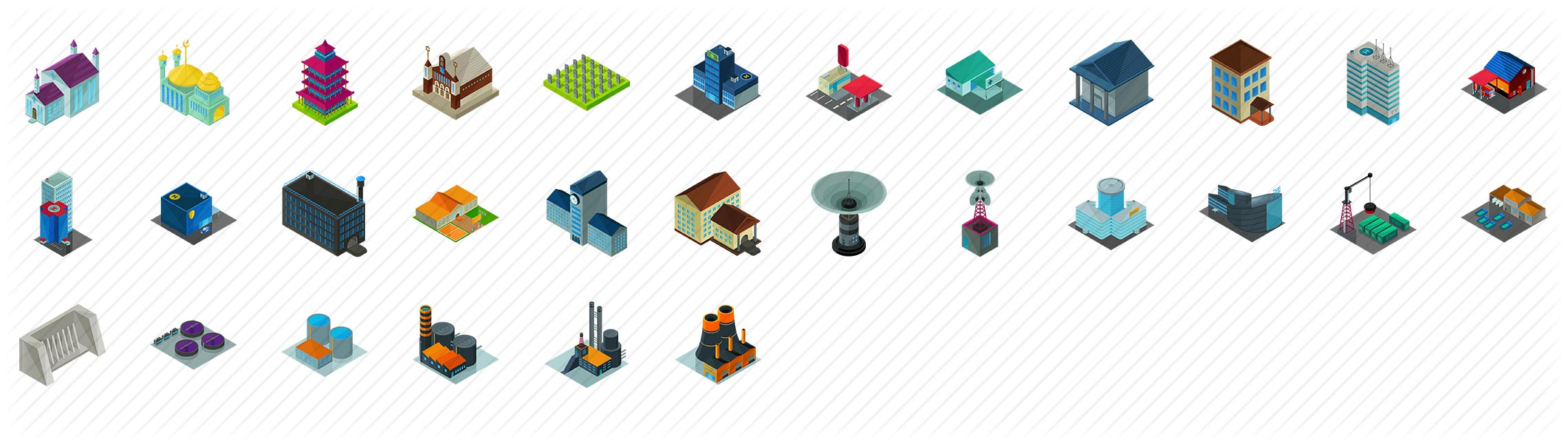 Essential Buildings Isometric Icons