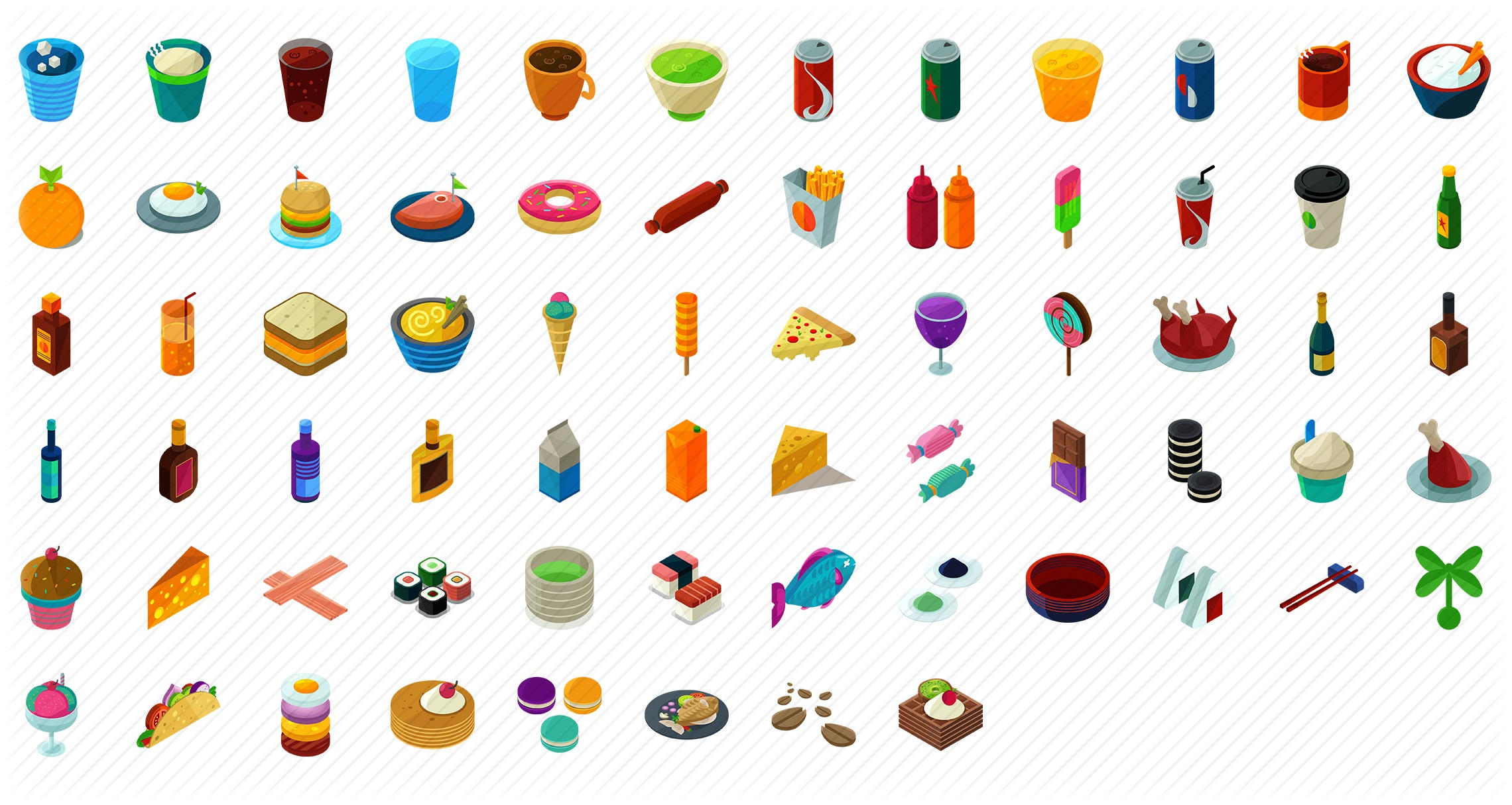 Food and Drink Isometric Icons