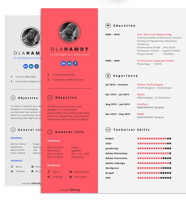Plantilla gratuita de curriculum interactivo por Ola Hamdy