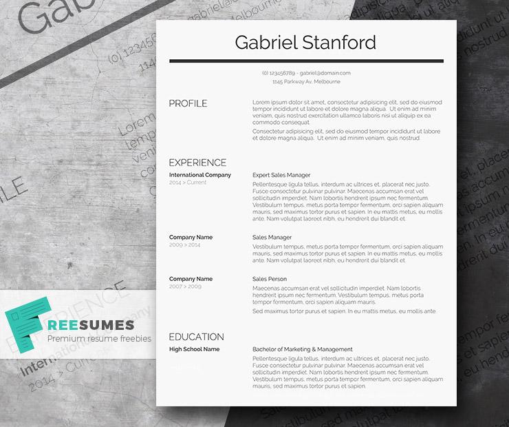Professional Resume Template gratis – Sleek And Simple