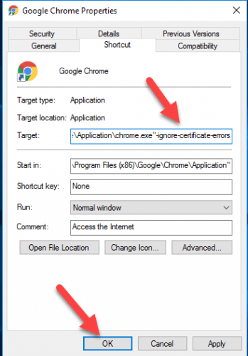 "Add "" ignore certificate error"" as a chrome shortcut"