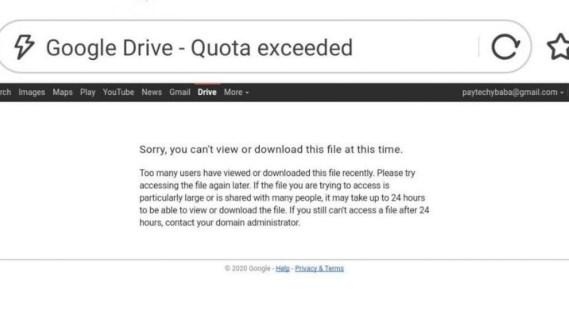 How to fix google drive download error (quota exceeded)