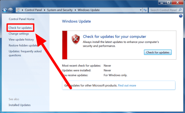 Process of Manually Check for Windows 7 Updates