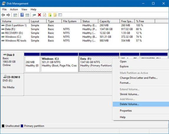 Delete Volume or Partition in Windows 10