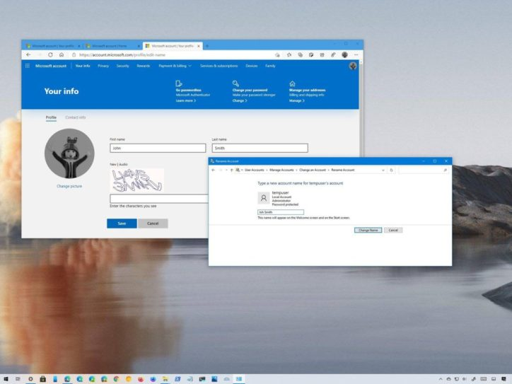 How to change your account name on a Windows 10 PC