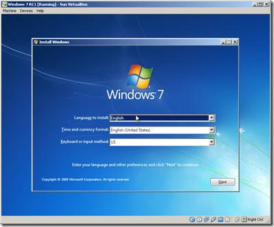 VIRTUALBOX Windows 7 instalation