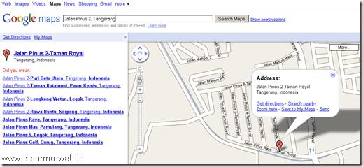Google Maps, Pencarian nama jalan