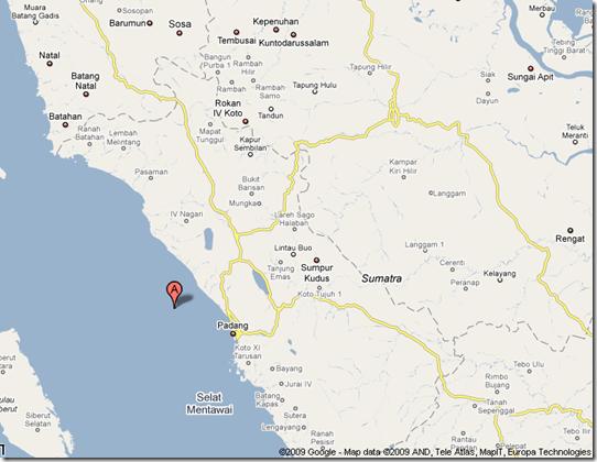 Lokasi Gempa Bumi 7,6 SR Sumatra Barat, 30 September 2009