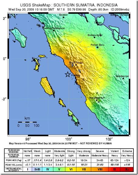 Potensi kerusakan akibat  Gempa Bumi 7,6 SR Sumatra Barat, 30 September 2009