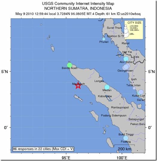 Lokasi gempa 7.2SR Meulaboh