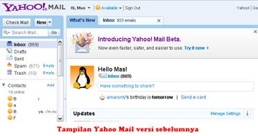 Yahoo Mail versi sebelumnya