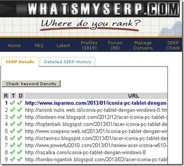 Cek SERP menggunakan whatsmyserp.com