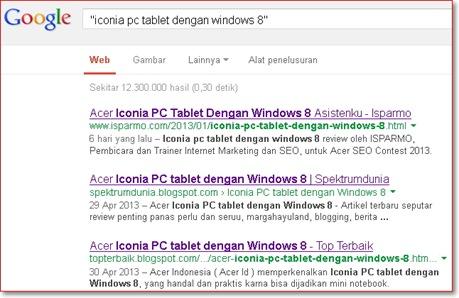 Posisi Google halaman satu seo kontes Iconia