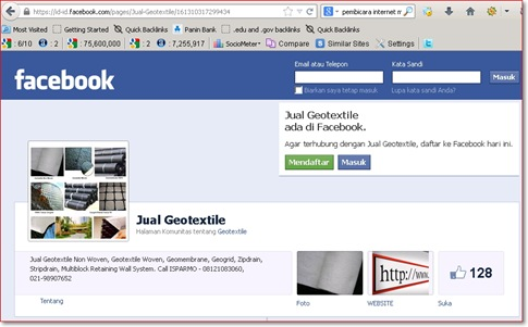 jual geotextile fanpage Facebook