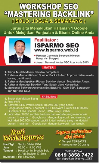 Brosur Workshop SEO Solo 3 Mei 2014