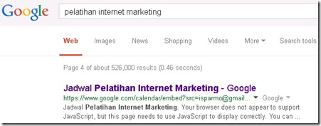 google calendar pelatihan internet marketing