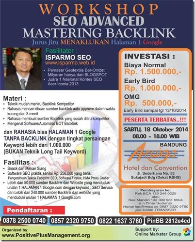 Brosur Workshop Pelatihan SEO Bandung 18 Oktober 2014