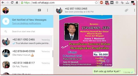 Chat WhatsApp menggunakan komputer website