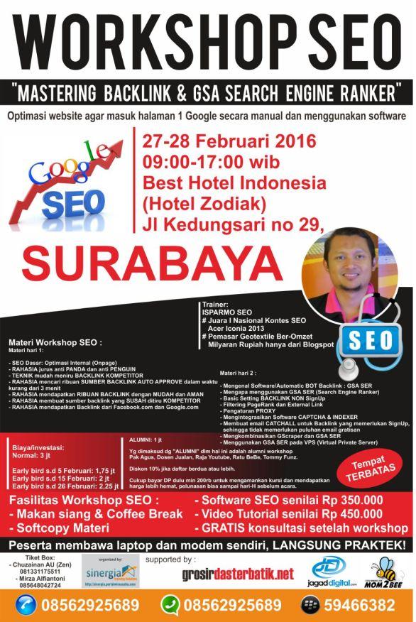 Pelatihan Kursus SEO Bisnis Online Surabaya 27-28 Feb 2016