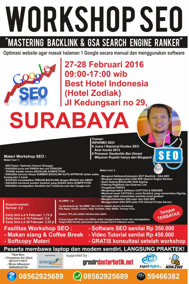 Pelatihan Kursus SEO Internet Marketing Surabaya Februari 2016