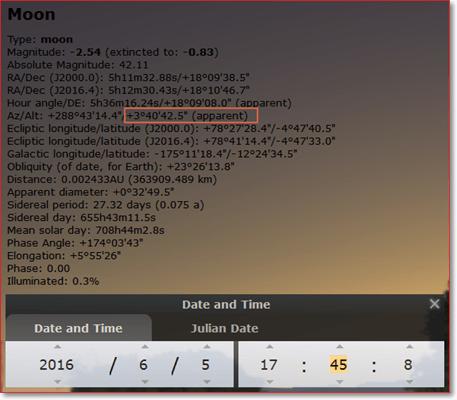 awal puasa 2016 menggunakan software Stellarium