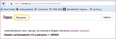Yandex TIC Backlink cek Facebook.com