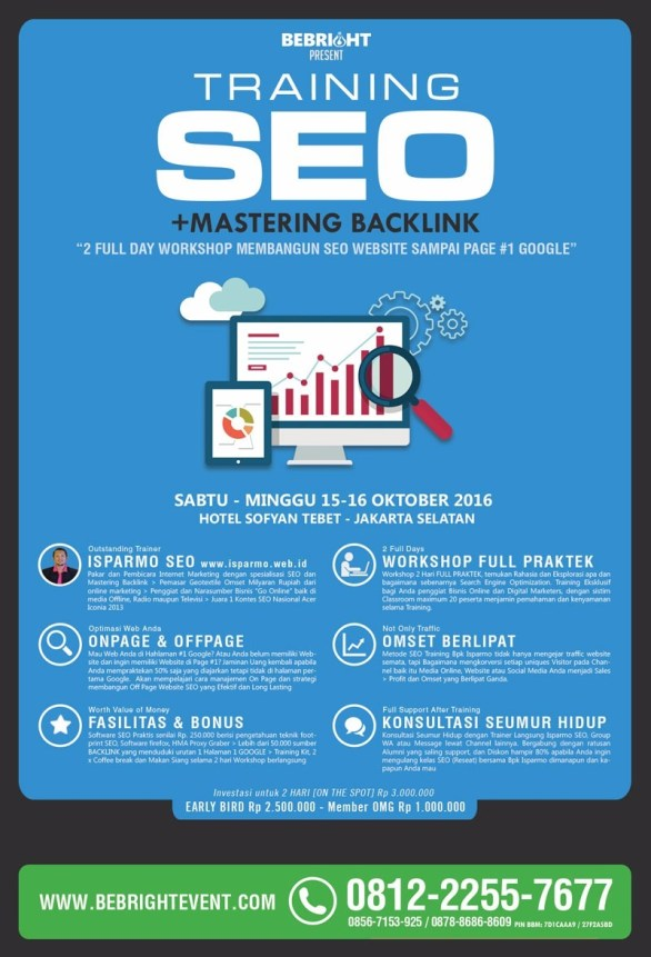Pelatihan SEO software backlink GSA Search Engine Ranker di Jakarta 15-16 Oktober 2016