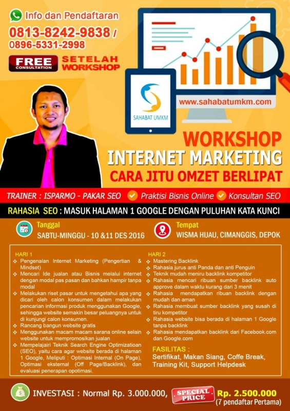 Kursus Pelatihan Internet Marketing SEO Depok, Jakarta, Bekasi, Bogor Desember 2016
