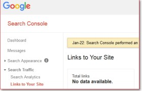 Data backlink di Google Webmaster Tools hilang error