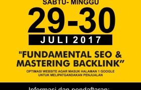 Pelatihan kursus seo Surabaya 29-30 Juli 2017