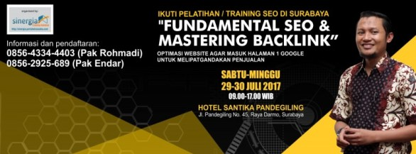 Pelatihan kursus seo internet marketing di Surabaya 29-30 Juli 2017