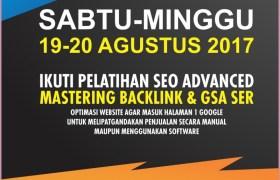 Kursus Pelatihan SEO Advance Jogja 19-20 Agustus 2017
