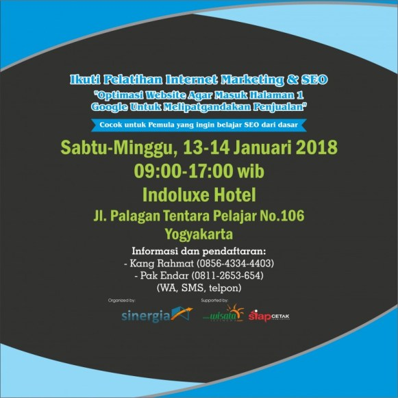 Pelatihan Kursus SEO Internet Marketing di Jogja 13-14 Januari 2018