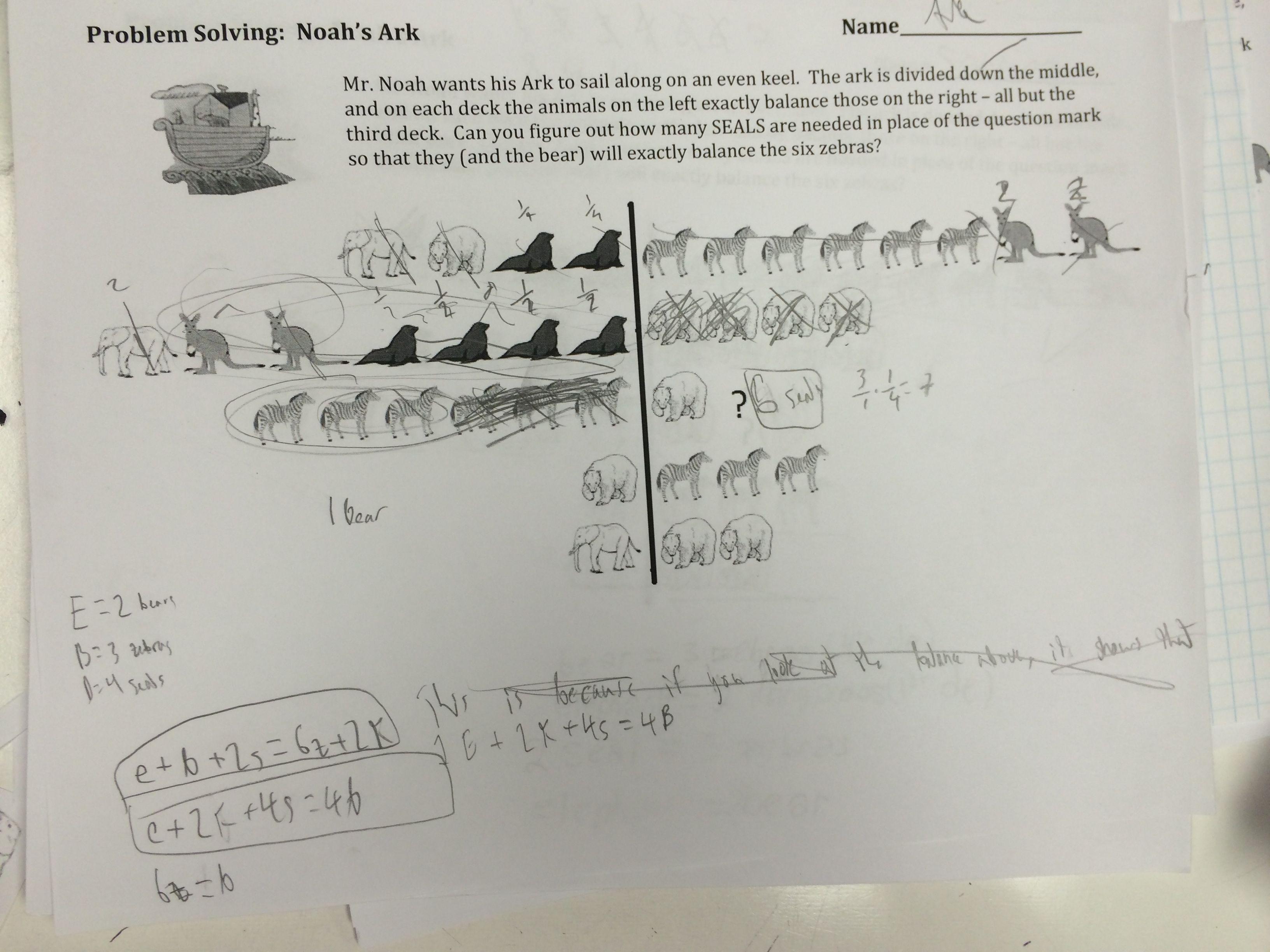 I Feel So Accomplished Problem Solving Noah S Ark