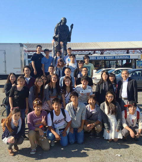 ISP group posing at the Golden Gate Ferry Terminal in San Francisco