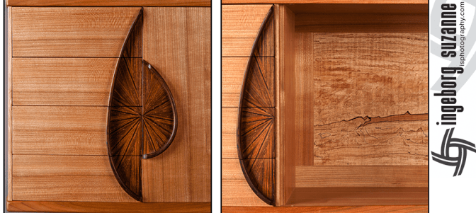 Detailed studio photos of a fine woodworking wall cabinet.