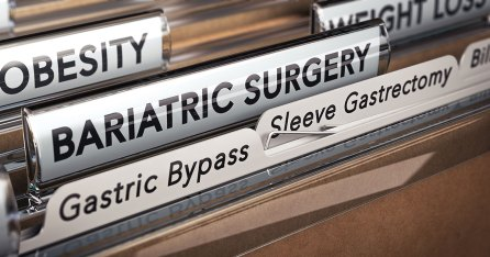 """A view inside a filing cabinet. Three large labels read """"Obesity,"""" """"Weight Loss,"""" and """"Bariatric Surgery."""" Within Bariatric Surgery are multiple subfolders. One is obscured, the two vissible ones say """"Gastric Bypass"""" and """"Sleeve Gastrectomy."""""""