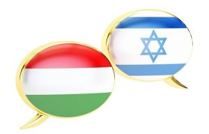 Speech bubbles, Hungarian-Israeli conversation concept. 3D rende