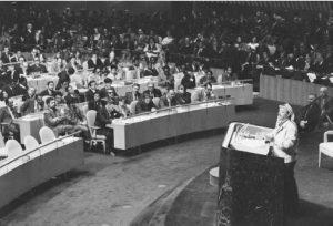 Yasser Arafat, PLO leader, explains goals of Palestinians to the United Nations. (© Bettmann/Corbis.)